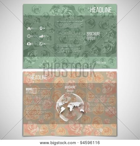Vector set of tri-fold brochure design template on both sides with world globe element. Drawn grunge