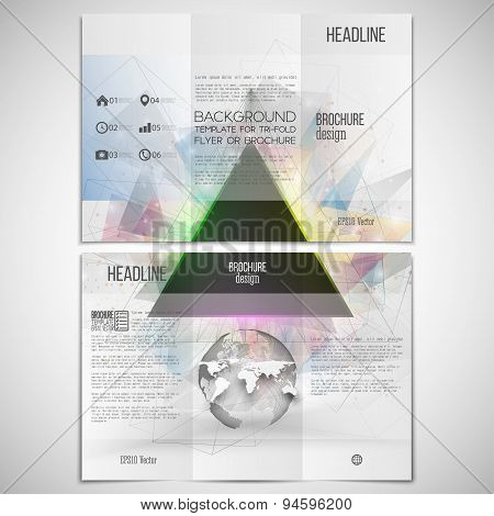 Vector set of tri-fold brochure design template on both sides with world globe element. Abstract tri