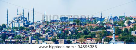 Istanbul Cityscape With Blue Mosque.