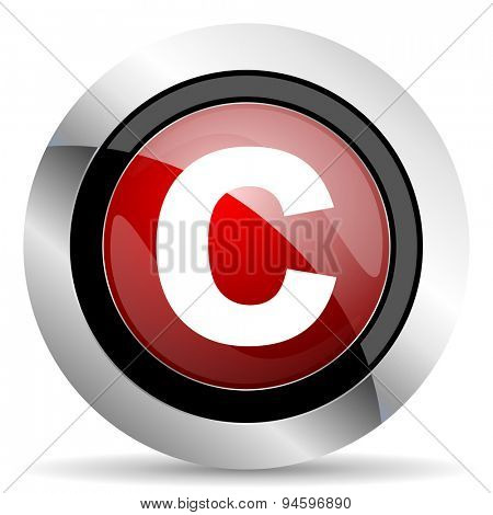 copyright red glossy web icon original modern design for web and mobile app on white background