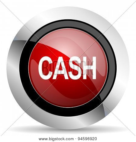 cash red glossy web icon  original modern design for web and mobile app on white background