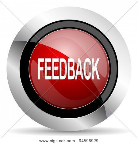 feedback red glossy web icon original modern design for web and mobile app on white background