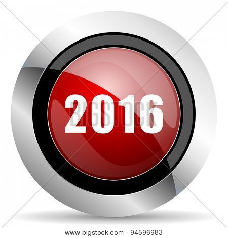 year 2016 red glossy web icon original modern design for web and mobile app on white background