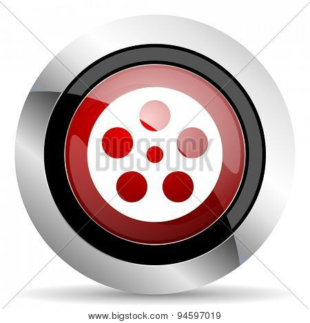 film red glossy web icon original modern design for web and mobile app on white background