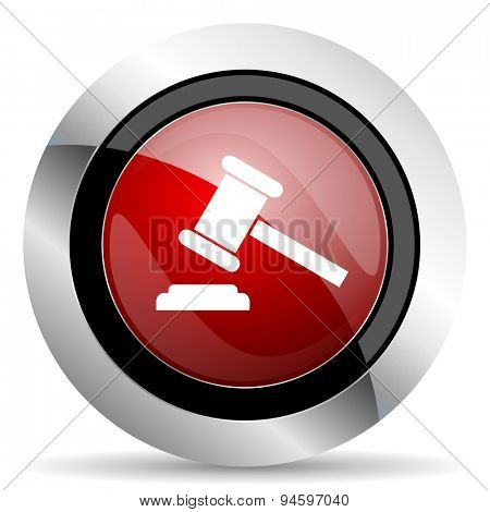 auction red glossy web icon original modern design for web and mobile app on white background