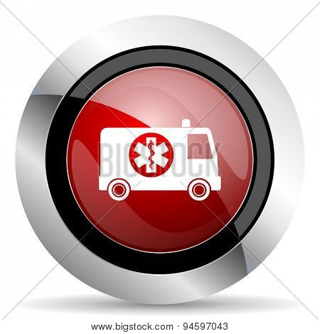ambulance red glossy web icon original modern design for web and mobile app on white background