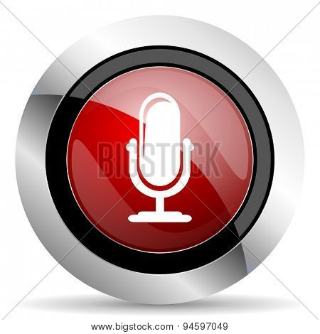 microphone red glossy web icon original modern design for web and mobile app on white background