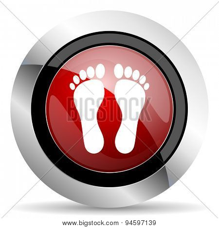 foot red glossy web icon original modern design for web and mobile app on white background