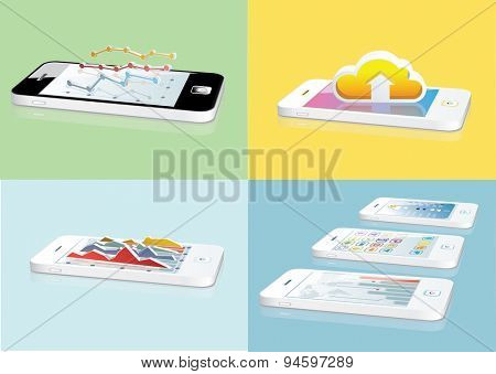 Touchscreen smartphones set  different applets Vector illustration.