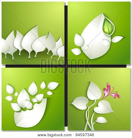 Vector paper cut leaves on green background