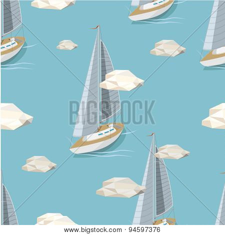 Yacht on blue seamless background. Vector Illustration.