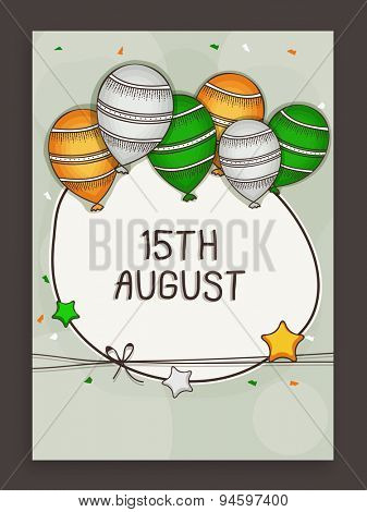 Indian Independence Day celebration greeting card decorated by national flag color balloons and stars.