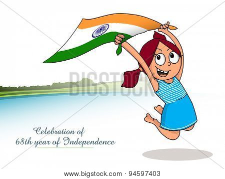 Illustration of cute girl holding Indian national flag and celebrating 68th years of Independency for Independence Day celebration.