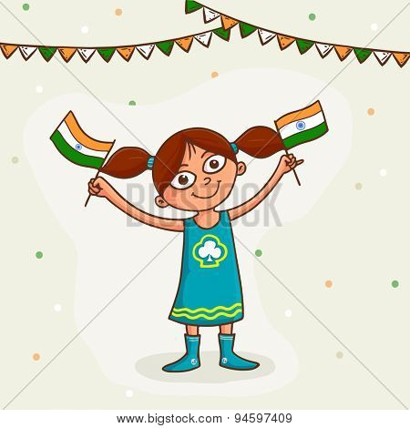 Cute little happy girl holding indian national flag and celebrating Happy Independence Day celebration on decorated background.