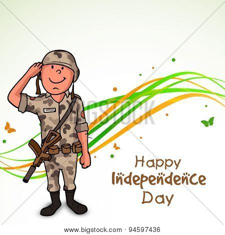Happy saluting soldier in uniform, on national flag colors stripes and butterflies decorated background for Indian Independence Day celebration.