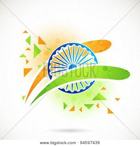 Shiny Ashoka Wheel with national flag colors stripes on floral design decorated background for Indian Independence Day celebration.