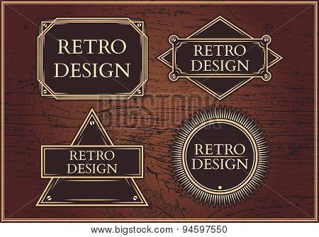 Set Hipster Emblems On A Brown Background