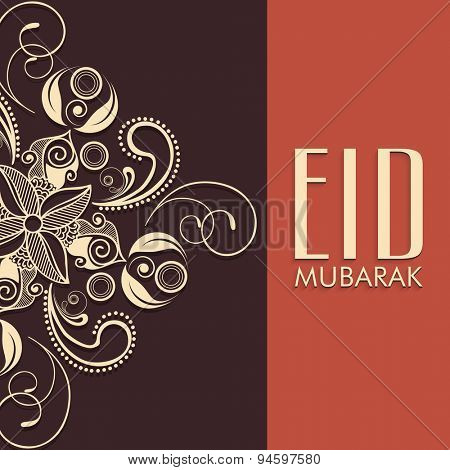 Beautiful floral design decorated greeting card in two colors for Muslim community festival, Eid celebration.
