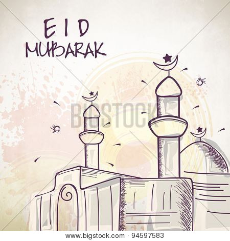 Muslim community festival, Eid Mubarak celebration with Mosque on abstract background.