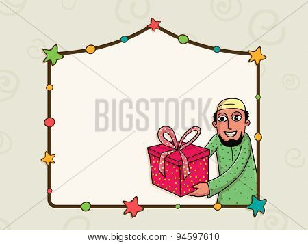 Stylish colorful stars decorated blank frame with illustration of a young Muslim man holding gift on occasion of Islamic famous festival, Eid celebration.