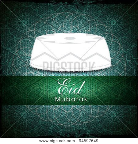 Islamic religious cap in white color on seamless green background for Muslim community festival, Eid celebration.