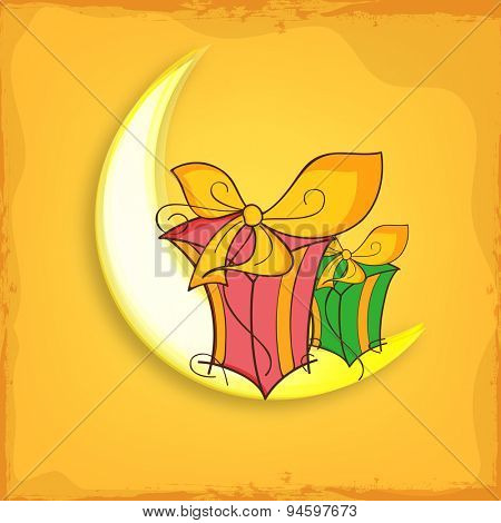 Colorful gifts on shiny crescent moon for Muslim community festival, Eid celebration.