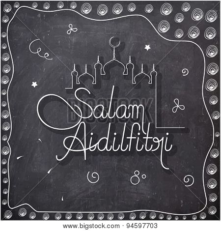 Elegant greeting card design with stylish text Salam Aidilfitri and mosque drawn by white chalk on blackboard background for Muslim community festival, Eid celebration.