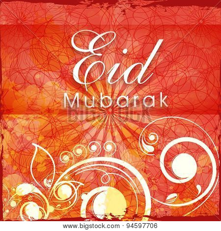 Beautiful floral design decorated greeting card for Islamic holy festival, Eid Mubarak celebration.