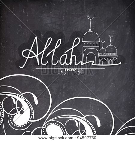 Stylish text Allah with mosque made by white chalk on floral decorated blackboard background, Elegant greeting card design for famous festival of Muslim community, Eid celebration.