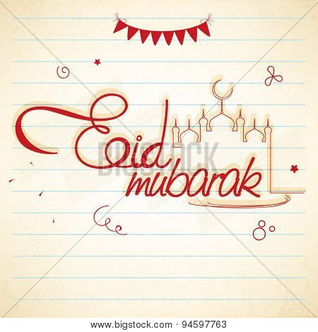 Elegant greeting card design with stylish red text Eid Mubarak on notebook paper background for Muslim community festival celebration.
