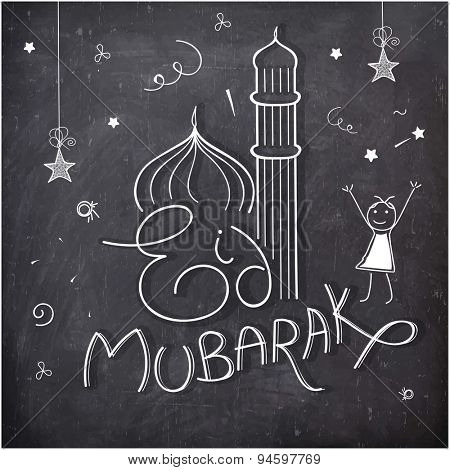 Elegant greeting card design with mosque on stylish chalkboard background for holy festival of Muslim community, Eid Mubarak celebration.
