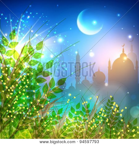 Beautiful greeting card design decorated with green leaves and mosque in shiny moon light night background for Muslim community festival, Eid celebration.