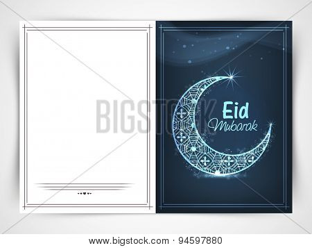 Beautiful greeting card with shiny floral crescent moon on blue background for muslim community festival, Eid celebrtion.