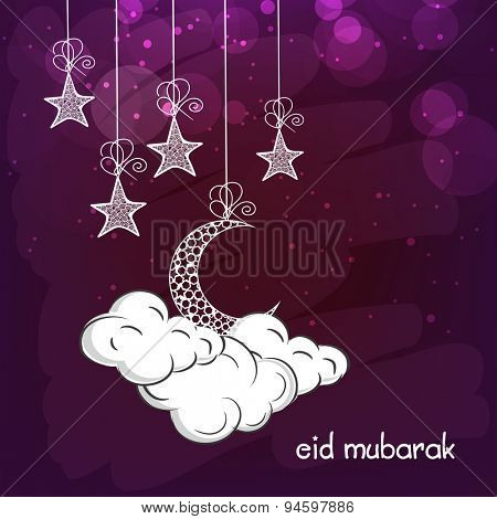 Elegant greeting card design decorated with hanging stars and crescent moons on clouds for Islamic famous festival, Eid Mubarak celebration.