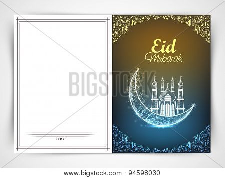 Muslim community festival, Eid mubarak celebration greeting card with shiny crescent moon and mosque.