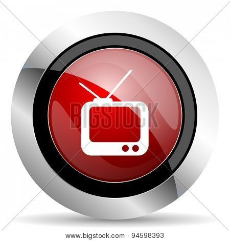 tv red glossy web icon original modern design for web and mobile app on white background