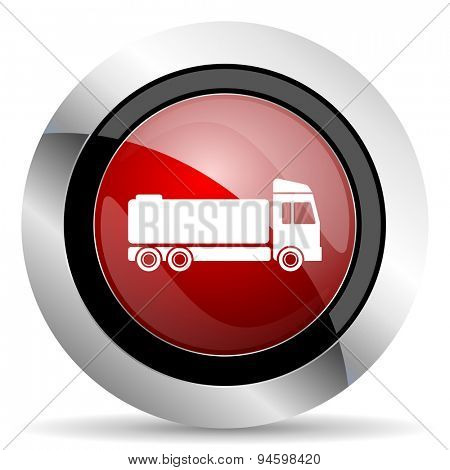 truck red glossy web icon original modern design for web and mobile app on white background