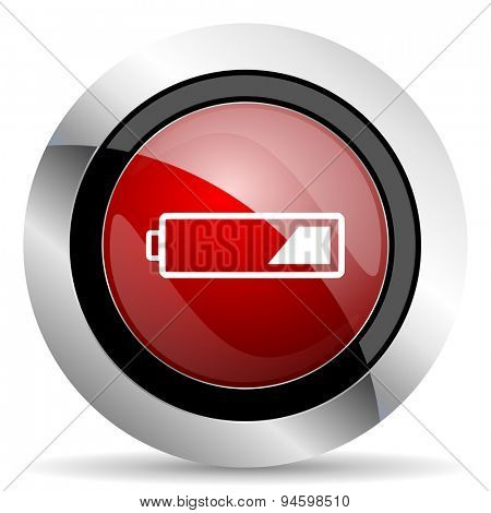 battery red glossy web icon original modern design for web and mobile app on white background