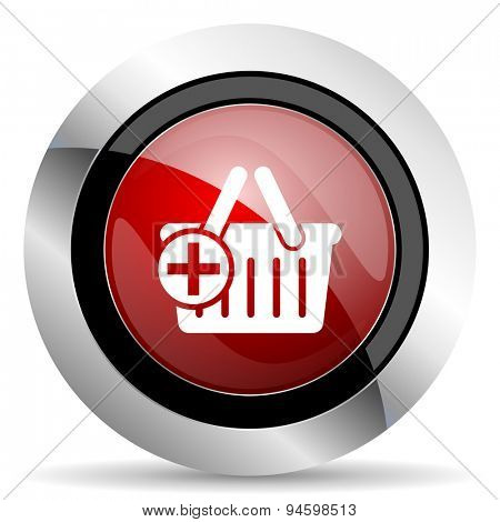 cart red glossy web icon original modern design for web and mobile app on white background