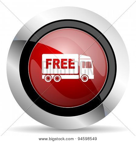 free delivery red glossy web icon original modern design for web and mobile app on white background