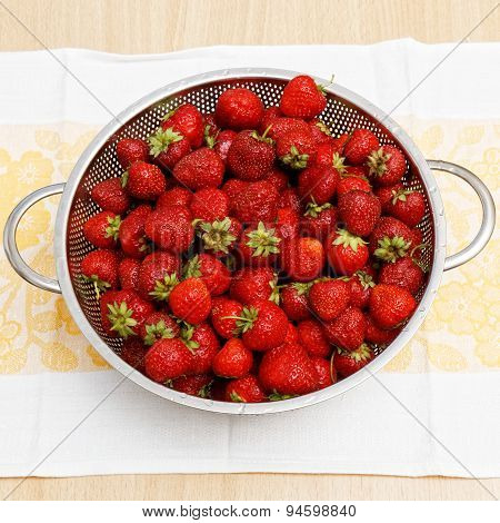 Image Of Lots Of Fresh Strawberries. Top View.