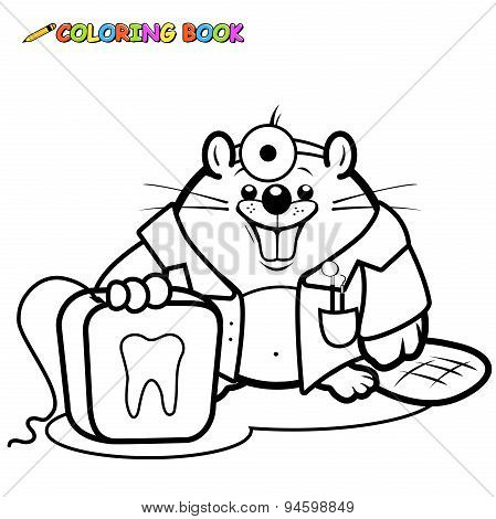 Beaver dentist holding a dental floss coloring page