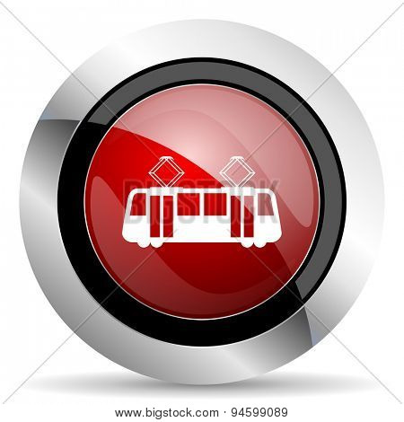 tram red glossy web icon original modern design for web and mobile app on white background