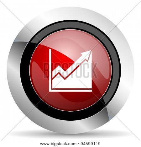 histogram red glossy web icon original modern design for web and mobile app on white background