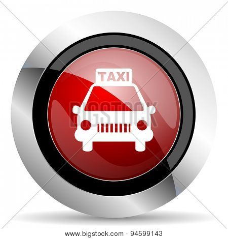 taxi red glossy web icon original modern design for web and mobile app on white background