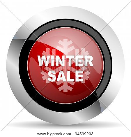 winter sale red glossy web icon original modern design for web and mobile app on white background