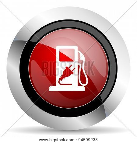 fuel red glossy web icon original modern design for web and mobile app on white background