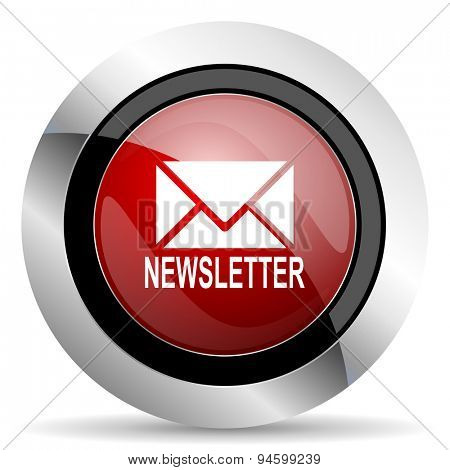 newsletter red glossy web icon original modern design for web and mobile app on white background