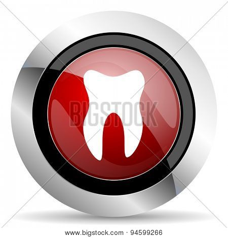 tooth red glossy web icon original modern design for web and mobile app on white background