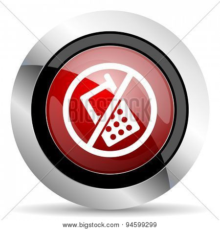 no phone red glossy web icon original modern design for web and mobile app on white background